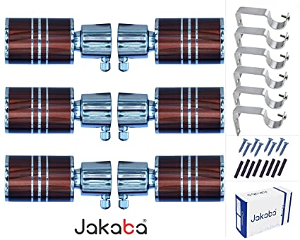 JAKABA Copper Finish Stainless Steel and Alloy Curtain Finials/Brackets with Full Chrome Heavy Supports - Pack Of 12 Pieces