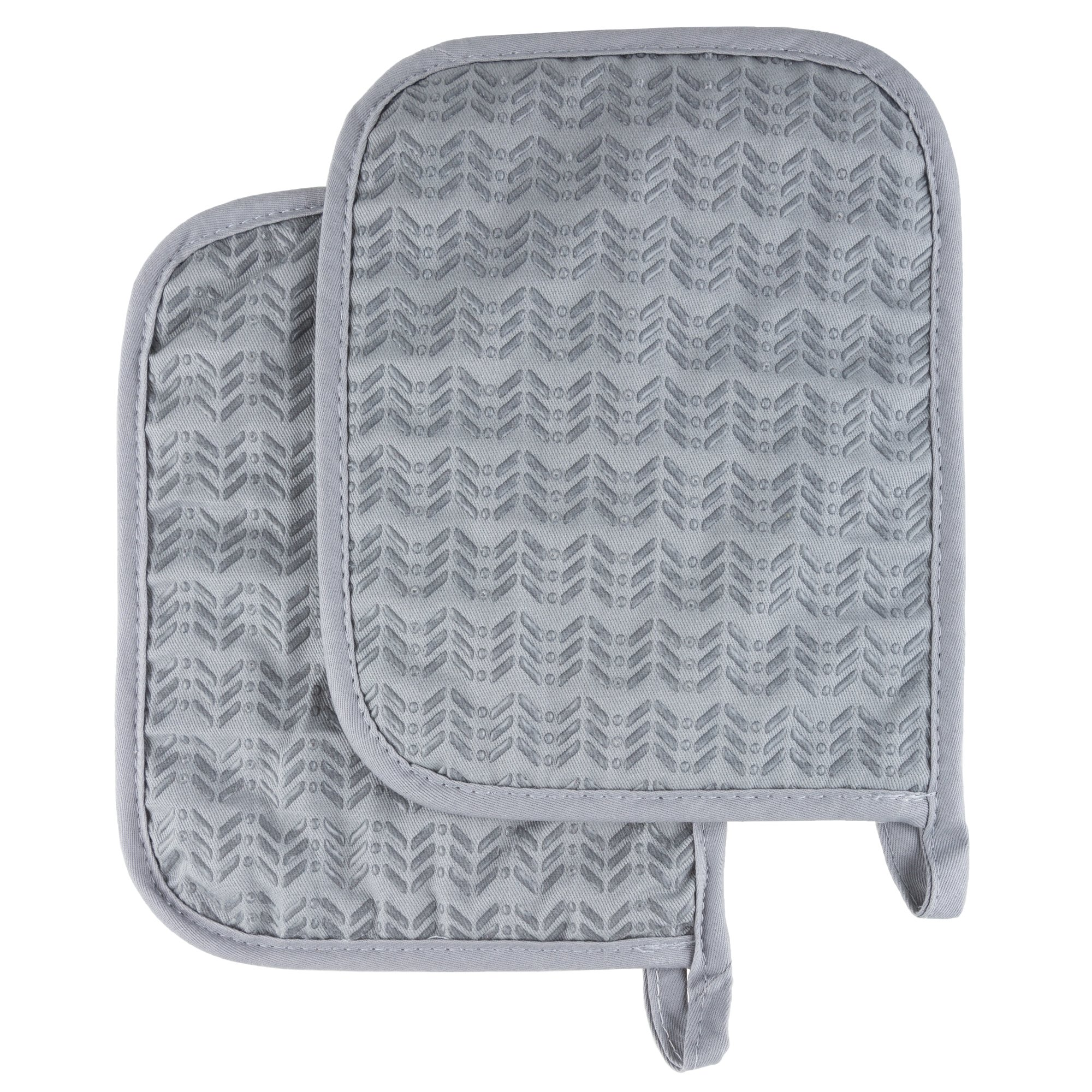 Pot Holder Set With Silicone Grip, Quilted And Heat Resistant (Set of 2) By Lavish Home (Silver)