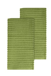 """Ritz Royale Collection 100% Combed Terry Cotton, Highly Absorbent, Oversized, Kitchen Towel Set, 28"""" x 18"""", 2-Pack, Solid Cactus Green"""