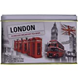 New English Teas London Selection English Breakfast Teabags Tin (Pack of 1, Total 25 Teabags)