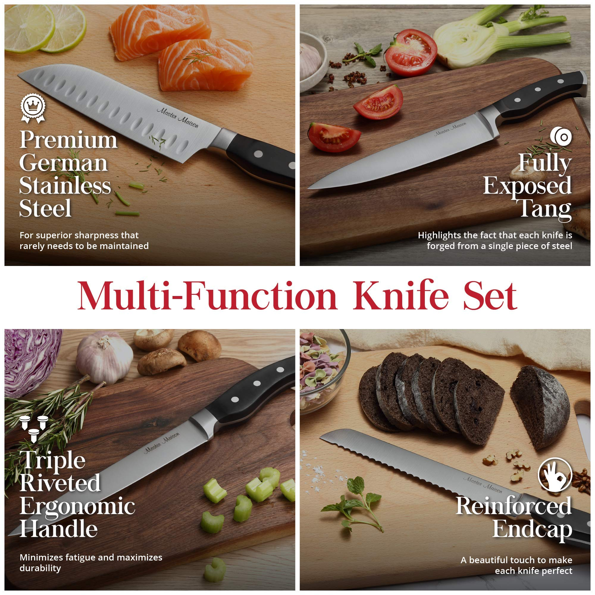 19-Piece Premium Kitchen Knife Set With Wooden Block | Master Maison German Stainless Steel Cutlery With Knife Sharpener & 8 Steak Knives by Master Maison (Image #4)