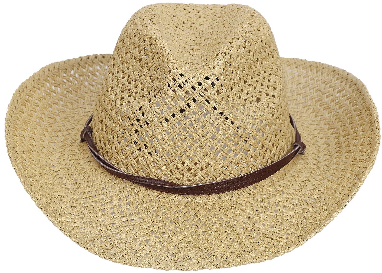 Simplicity Western Cowboy Paja Sombrero de Paja Hombre Cowboy Mujer Con  B07DKPGL11 Banda de piel Beige 20b4e30 932f26da186