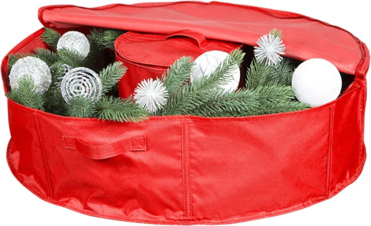 Christmas Wreath Storage Container Oxford Canvas Bag Zipper Handles Red 30/'/'