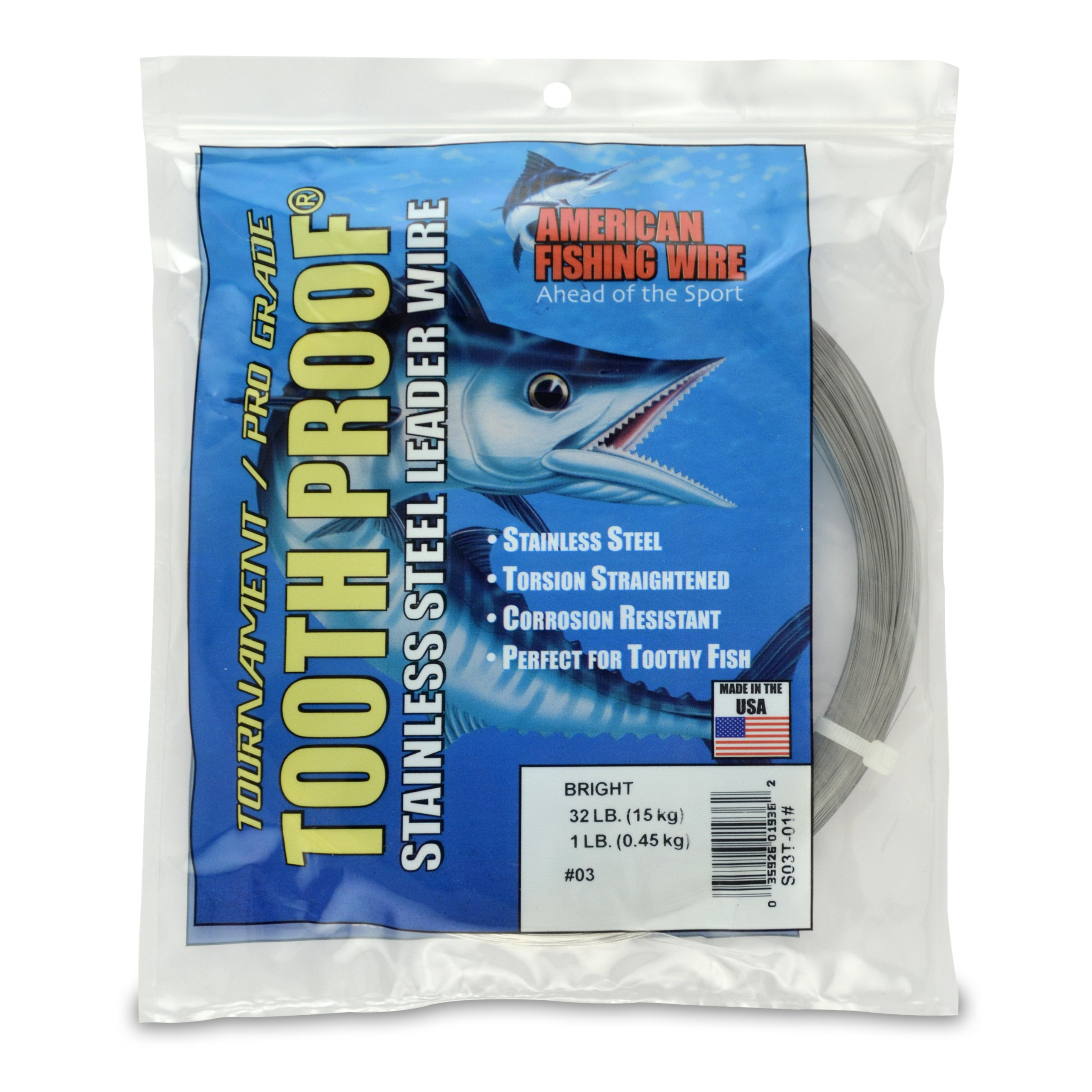 American Fishing Wire Tooth Proof Stainless Steel Single Strand Leader Wire, Size 3, Bright Color, 32 Pound Test, 1 Pound Coil