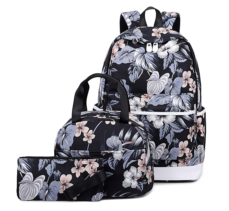 Blue Joymoze Teen Girl School Backpack with Insulated Lunch Bag Pencil Purse