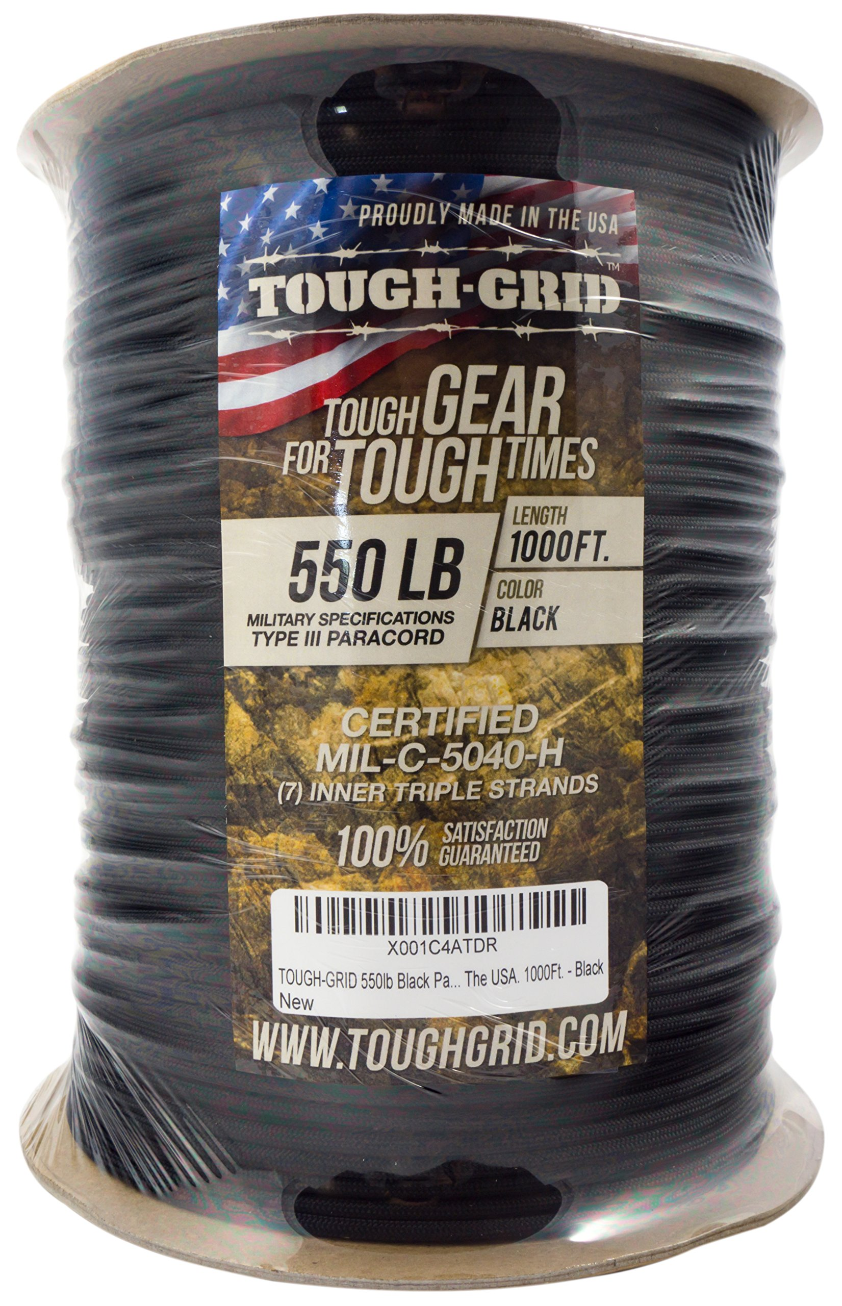 TOUGH-GRID 550lb Black Paracord/Parachute Cord - 100% Nylon Genuine Mil-Spec Type III Paracord Used by The US Military - Great for Bracelets and Lanyards - Made in The USA. 50Ft. - Black by TOUGH-GRID (Image #10)