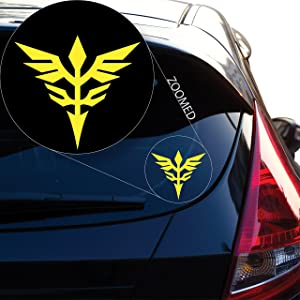 """Yoonek Graphics Neo Zeon Gundam Decal Sticker for Car Window, Laptop and More. # 814 (4"""" x 4.3"""", Yellow)"""