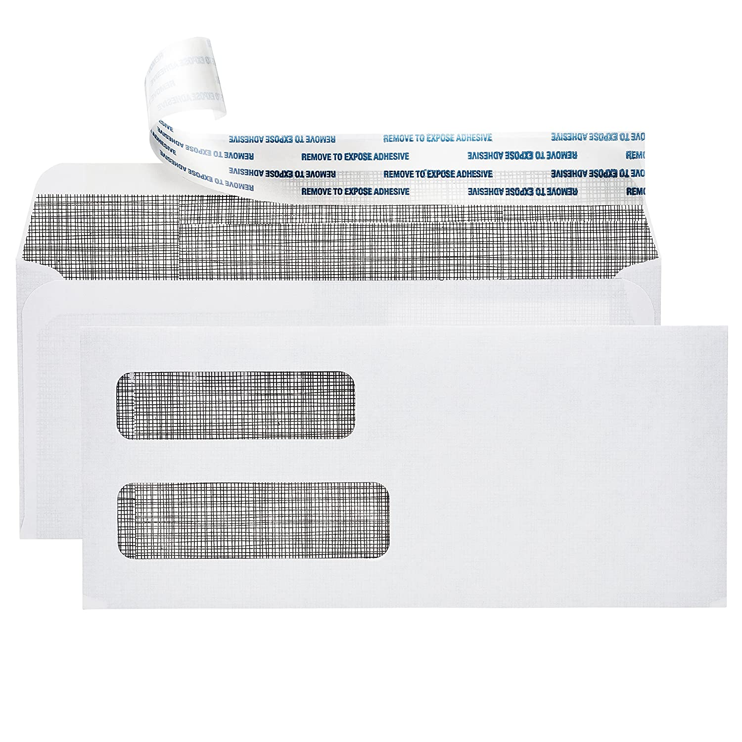 #10 Self Sealing Security Envelopes :: Double Window, Easy Peel & Seal, White with Dark Privacy Tint :: Perfect for Business Statements, Quickbooks Invoices, and Return Envelopes - 4 1/8 X 9 ½''
