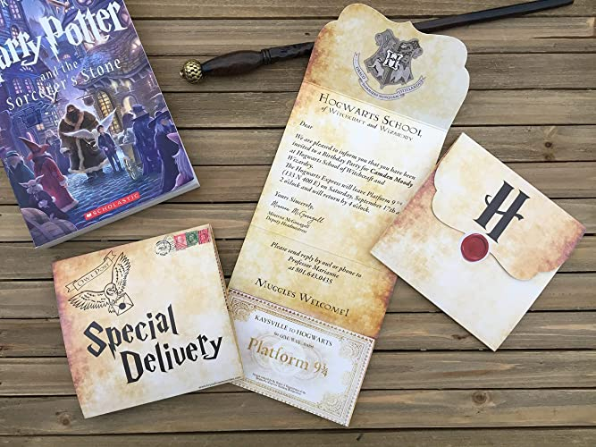 harry potter party invitation 15 cards hogwarts letter harry potter birthday invitation