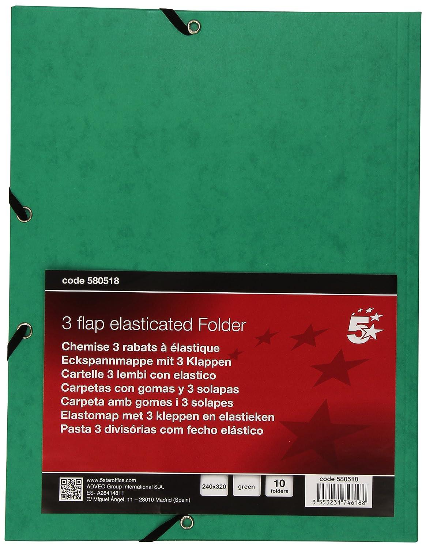 5 Star 400071445 - Carpeta de gomas con solapa, A4, color verde: Amazon.es: Oficina y papelería