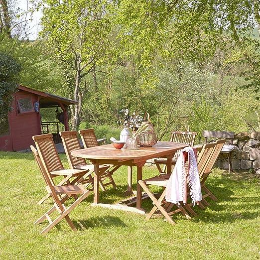 set conjunto muebles jardín terraza mesa 8 sillas teca madera ...