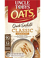 UNCLE TOBYS Oats Quick SACHETS Classics Variety Pack, 12 x 35g
