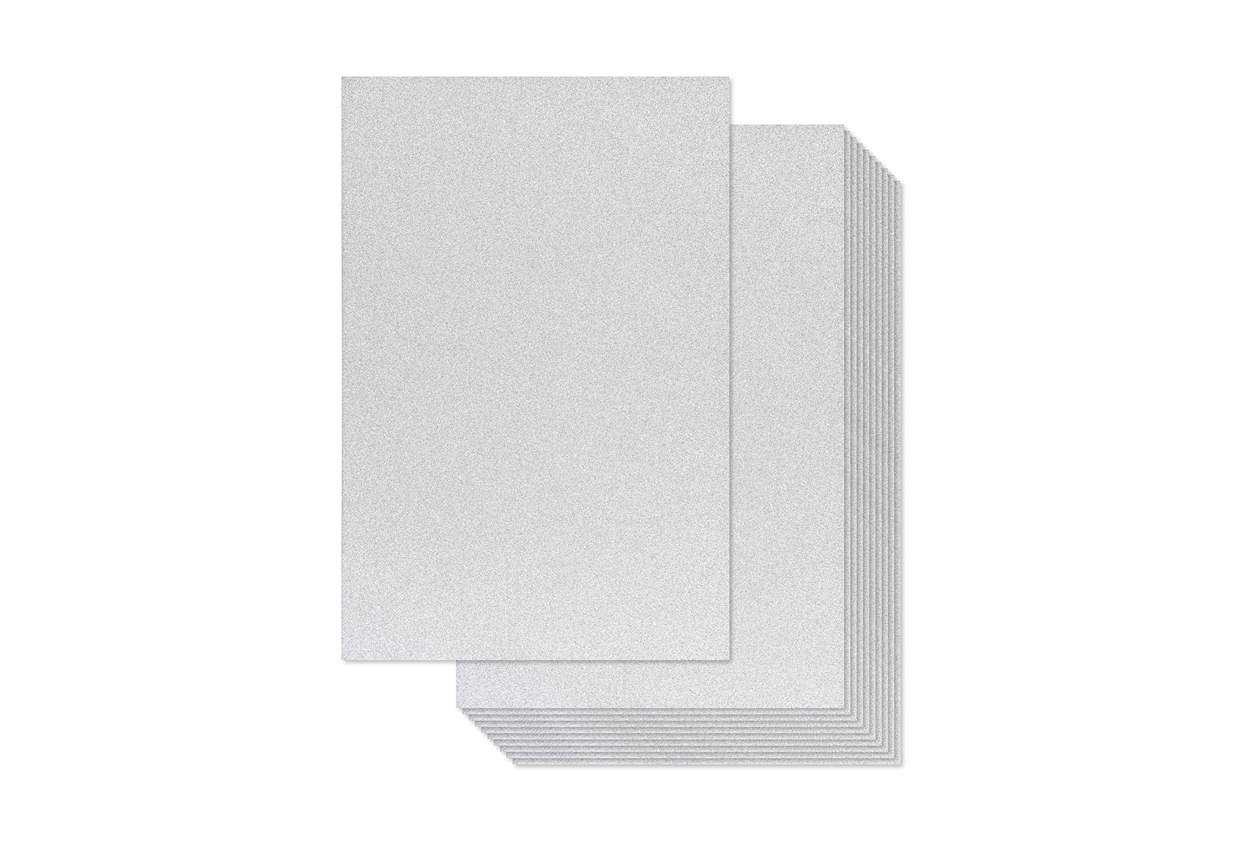 Bright Creations Glitter Cardstock Paper 24 Pack DIY Glitter Craft Paper White 11 x 8.5 inches