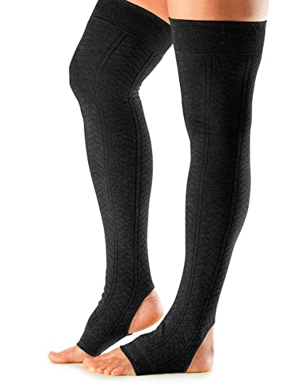aafff5a4c ToeSox Women s Thigh High Ribbed Knit Open Heel Leg Warmer (Black) One Size