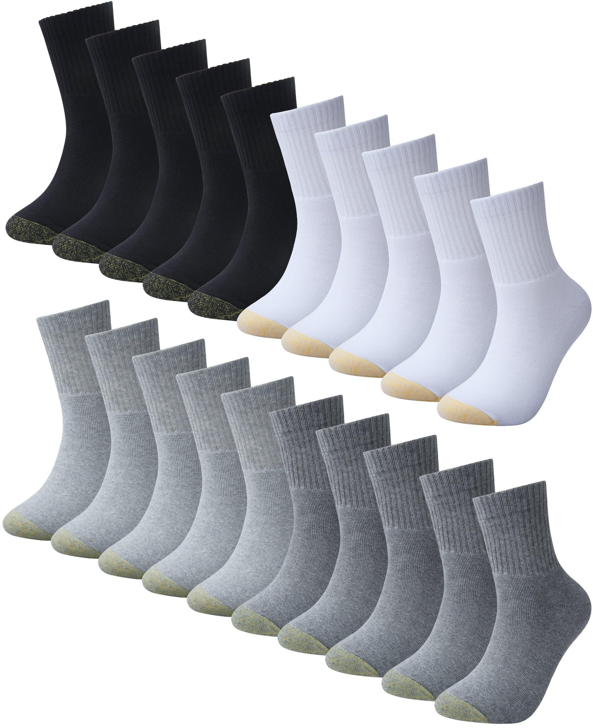 BAOMOSI Men's Premium Cotton Quarter Athletic Sock Moisture Wicking Cushion Athletic Casual Socks 20-Pack Black White Deep Grey SliverGrey 6-11