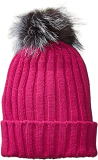 a622c6cd74c Dikoaina Womens Girls Knitted Fur Hat Real Large Silver Fox Fur Pom Pom  Beanie Hats