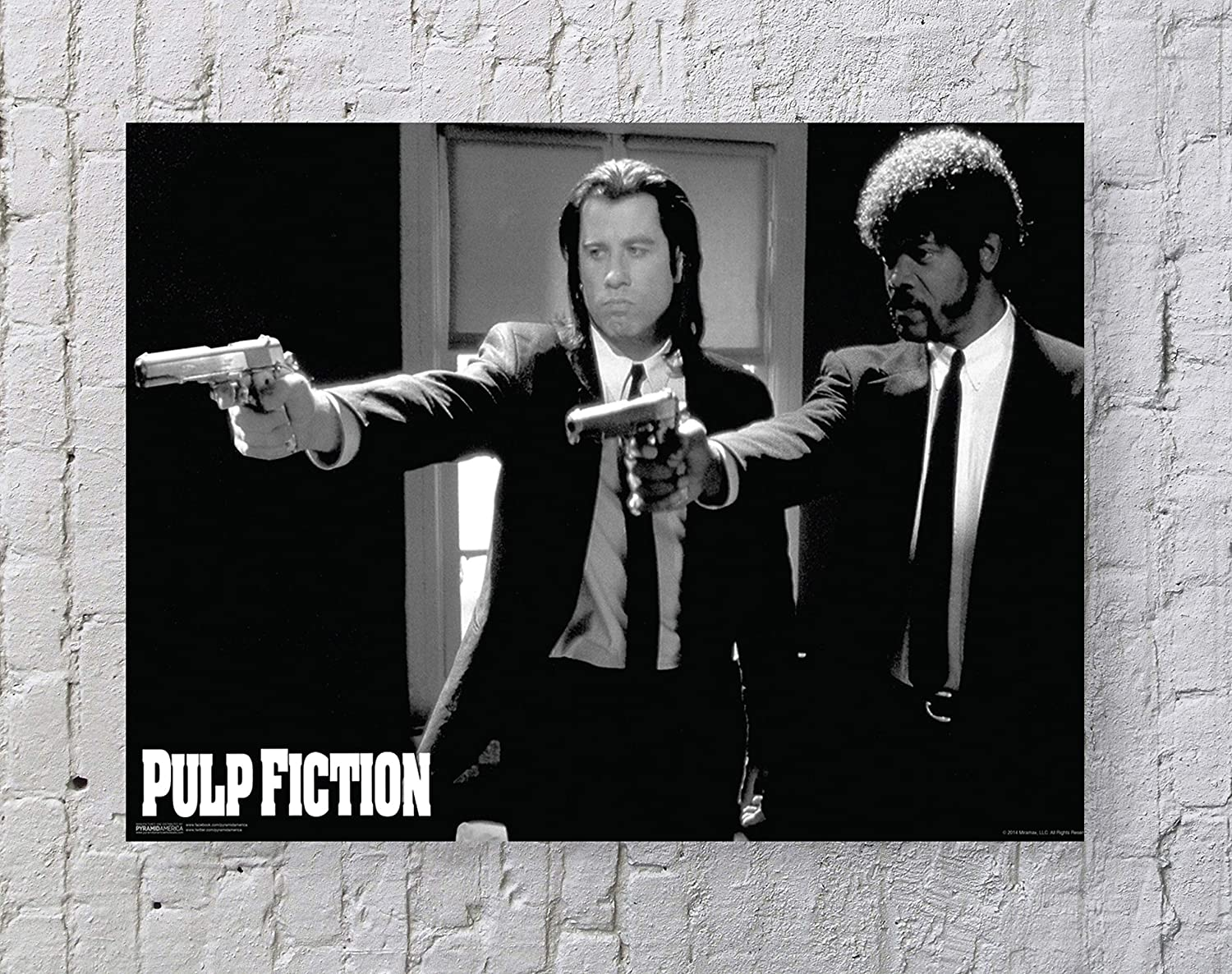 LLp Pulp Fiction Poster Standard Size | 18-Inches by 24-Inches | Pulp Fiction Movie (Pointing Guns) Wall Poster Print