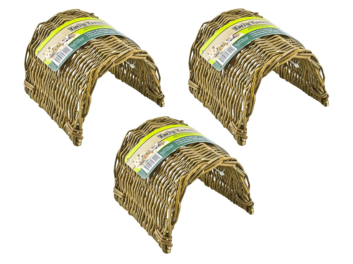 (3 Pack) Ware Hand Woven Willow Twig Tunnel Small Pet Hideouts, Small