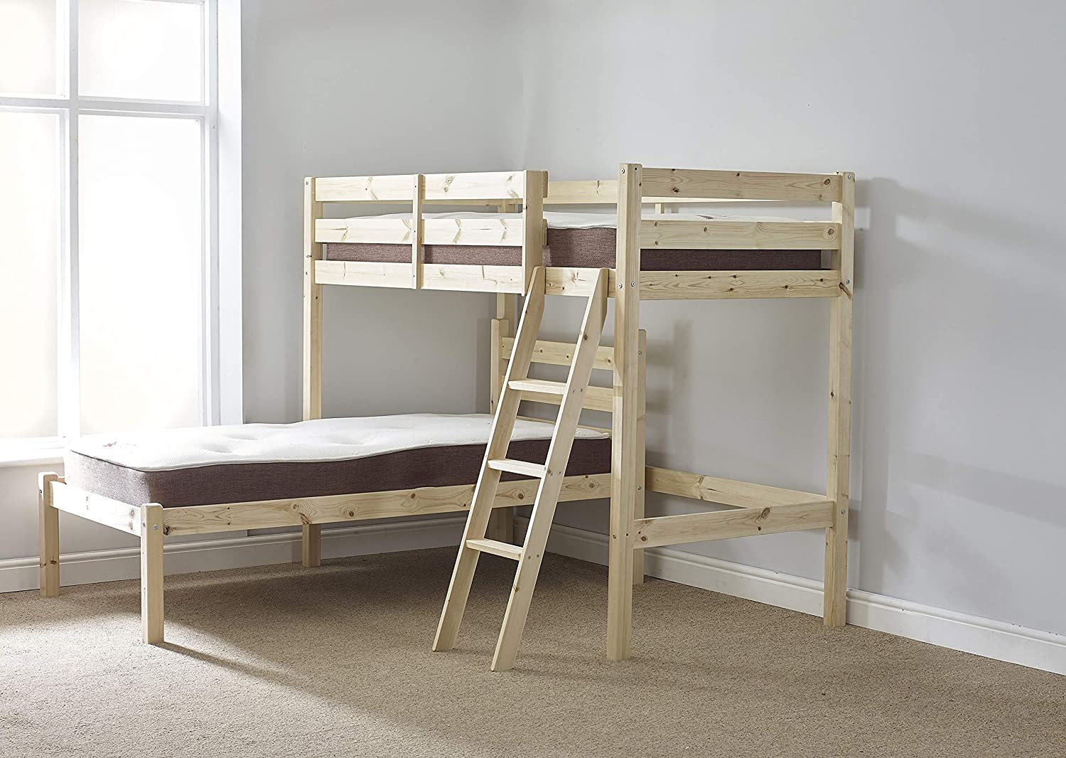 Strictly Beds and Bunks Low L Shaped Bunk Bed, 3ft Single