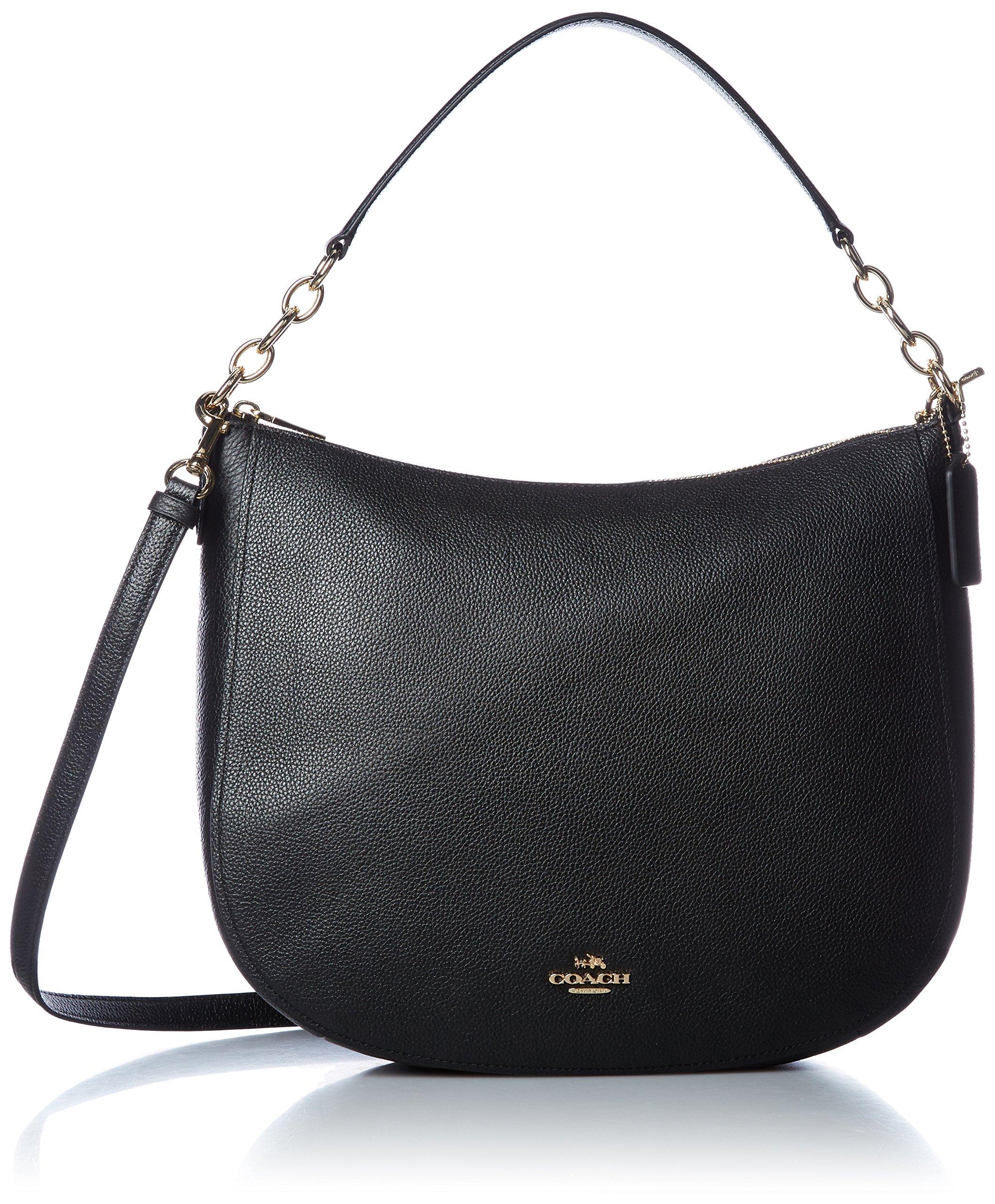 COACH Women's Polished Pebbled Leather Chelsea 32 Hobo Li/Black Handbag