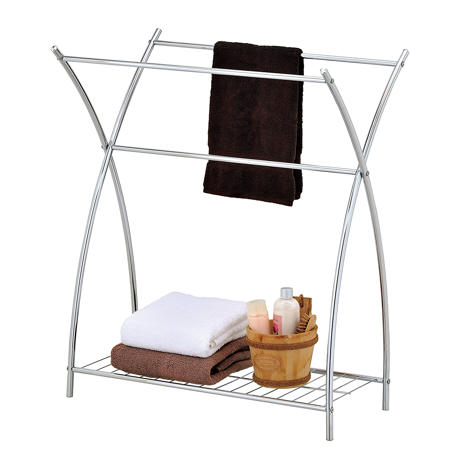 MyGift Freestanding 3 Bar Bathroom Chrome Towel Rack & Holder with Wire Shelf TB-BATH0142SIL
