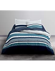 TODAY Enjoy Moody Blue Parure 100% Coton 57 Fils, Banc, Bleu, 240 X 220 CM