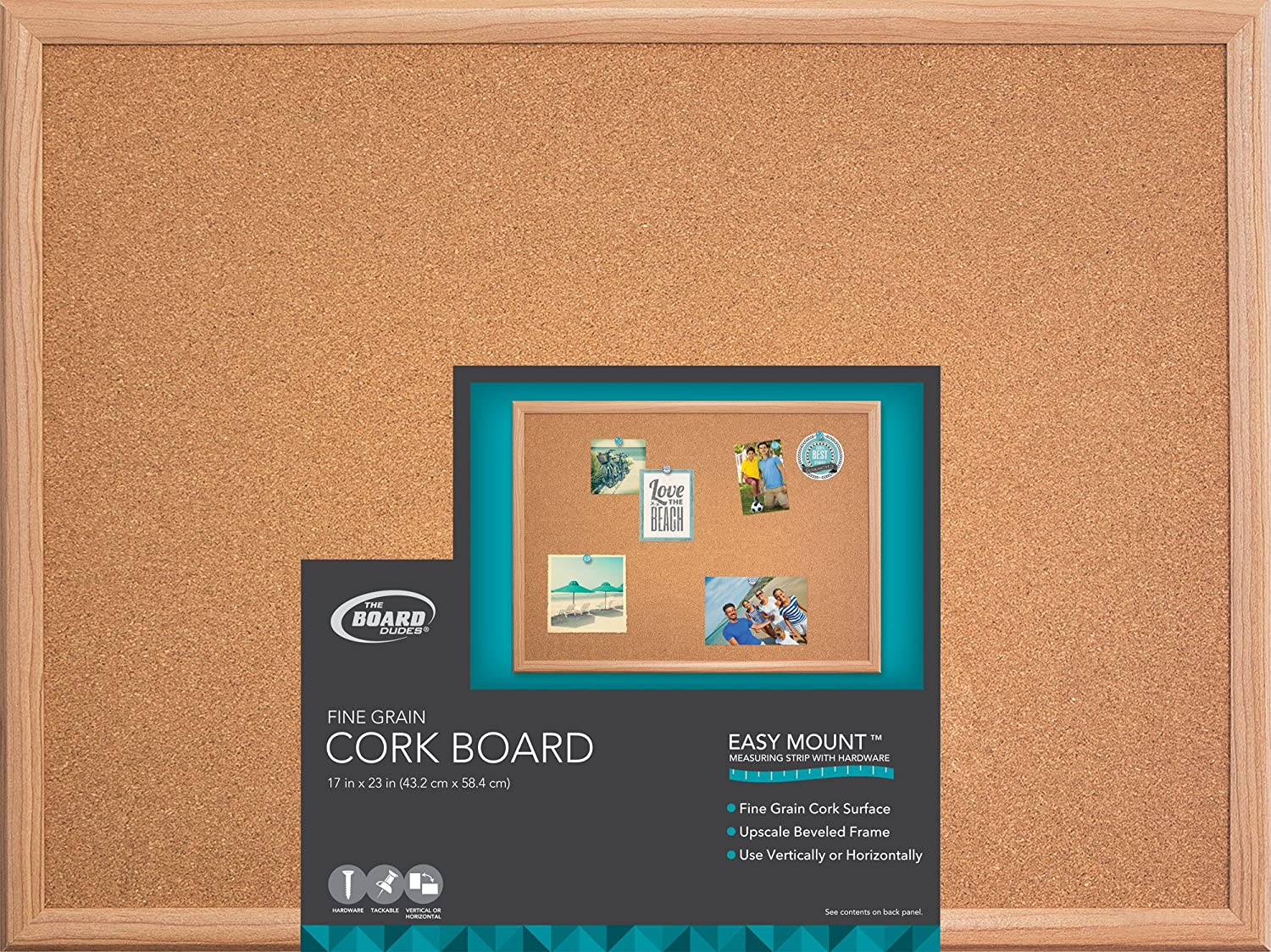 Board Dudes 17 x 23 Wood Style Framed Cork Board (CXM87) Mattel