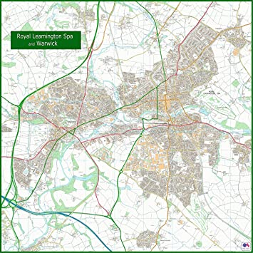 Royal Leamington Spa and Warick Street Map 140 x 140 cm Amazonco