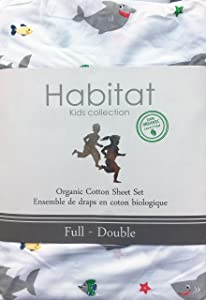 Habitat Kids Collection 4 Piece Organic Cotton Full Size Double Bed Sheet Set Gray Smiling Happy Sharks Fish on White