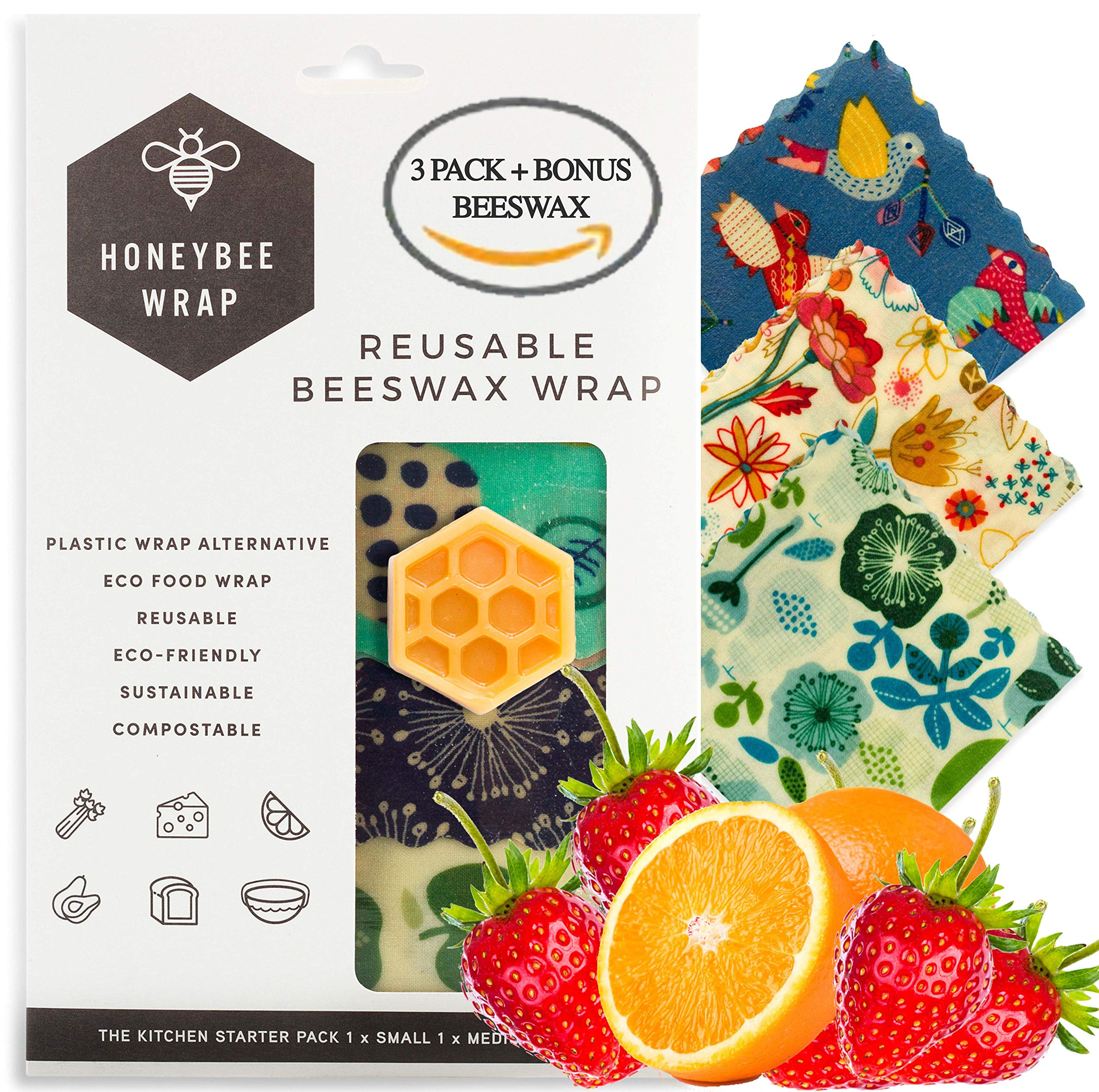 Honeybee Reusable Beeswax Food Wrap | 3 Pack with Wax Replenisher | Handmade in Australia | Eco Friendly, Reusable, Biodegradable, Bees Wrap | Bees Wax Paper Wrap | Beewax Wrapping by HONEYBEE WRAP