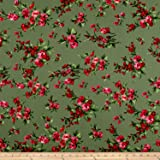 Liverpool Double Knit English Floral Kiwi/Scarlet/Pink Fabric By The Yard