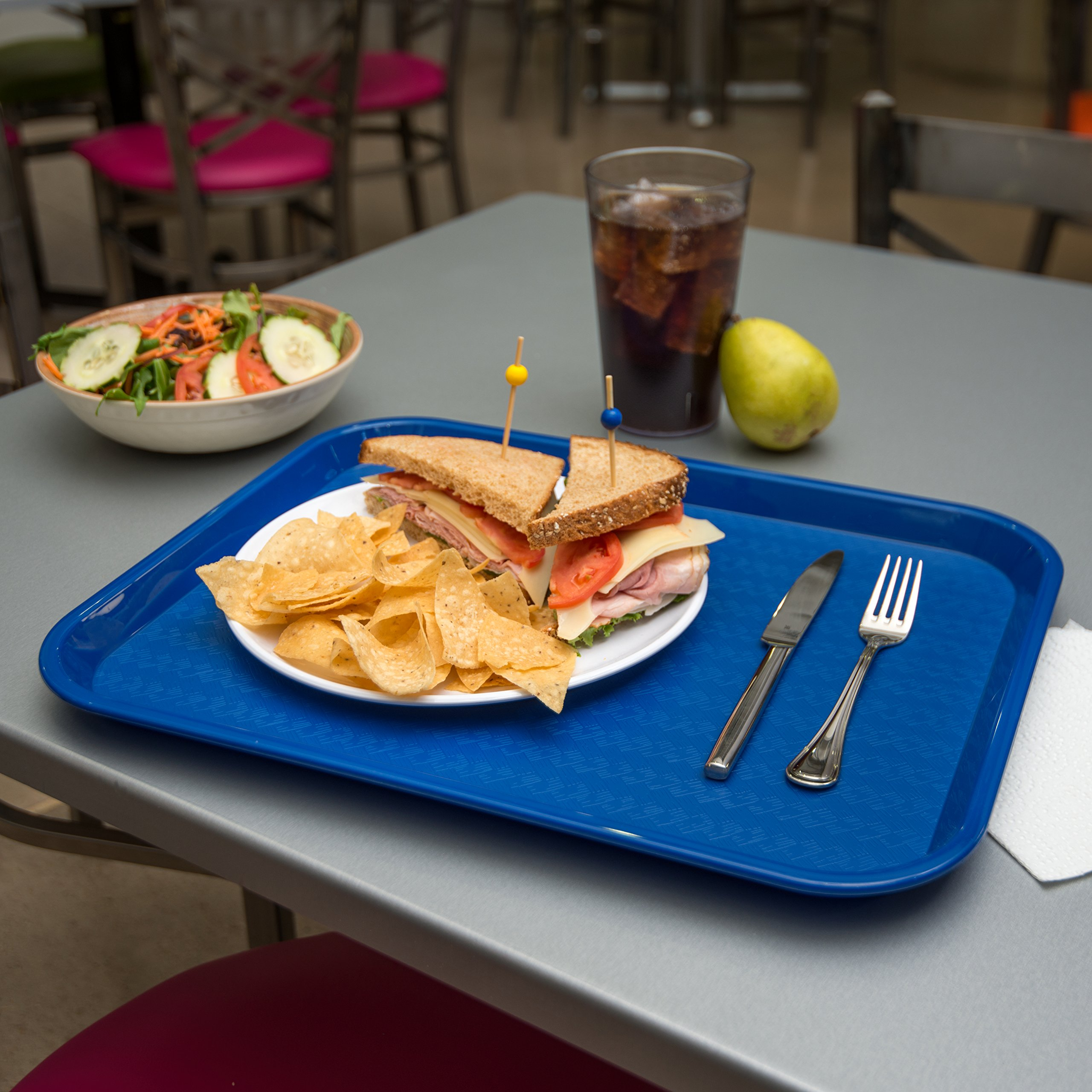 Carlisle CT141814 Café Standard Cafeteria / Fast Food Tray, 14'' x 18'', Blue (Pack of 12) by Carlisle (Image #6)