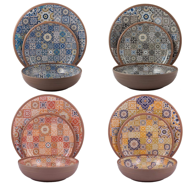 Melange 6-Piece 100/% Melamine Dinner Plate Set Moroccan Tiles | Shatter-Proof and Chip-Resistant Melamine Dinner Plates Color: Multicolor