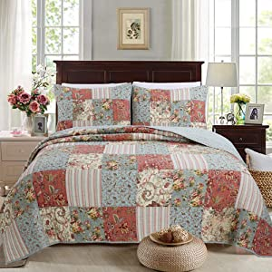 Cozy Line Home Fashions Eleanor Coral Teal Ivory Yellow Real Patchwork Floral Print Pattern 100% Cotton Reversible Coverlet, Bedspread, Quilt Bedding Set for Women (Coral/Teal, King - 3 Piece)