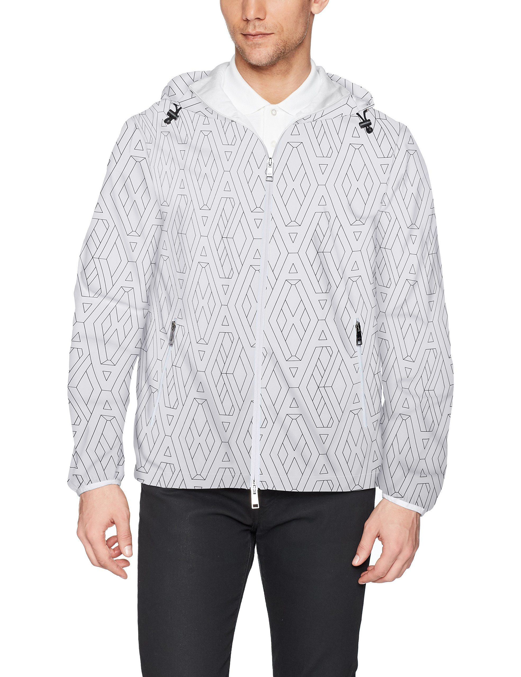A|X Armani Exchange Men's Logo Printed Armani Activewear Jacket, White Geometric, M