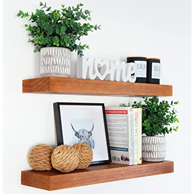 Buy Homeforia Rustic Farmhouse Floating Shelves Bathroom Wooden Shelves For Wall Mounted Thick Industrial Kitchen Wood Shelf 24 X 6 5 X 1 75 Inch Set Of 2 Honey Oak Color Online In Greece B07swjfdxh