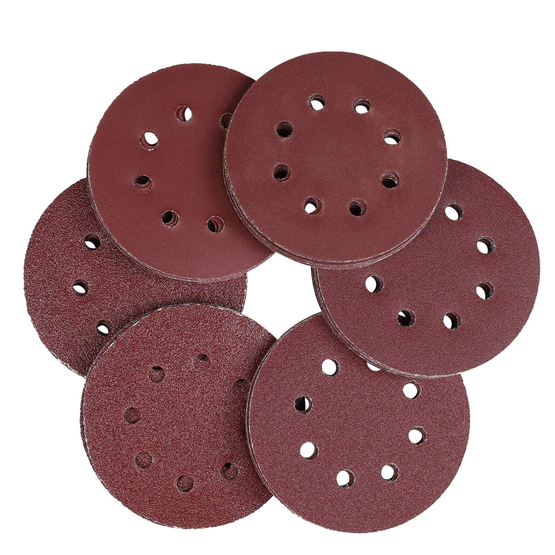 Naler 60pcs Sanding Discs Pads, 8 Holes 125mm Grinding Wheels Sandpaper for Power Random Orbit Sanders Sanding Polishing Rust Removal (Grain Size 40/60/80/120/180/240)