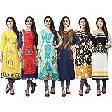 1 Stop Fashion Women's Multi-Coloured Crep Knee Long W Style Kurtas/Kurti Combo (Set Of 6)