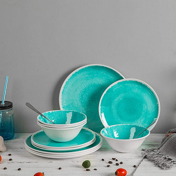 Melamine 12 Piece Dinnerware Set Dishes Set Suitable Indoors And Outdoors Service For 4 Lightweight Turquoise Dinnerware Sets