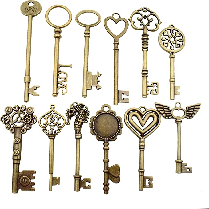 Jewelry Findings Making Accessory For DIY Necklace Bracelet m102 12pcs Antique Silver Huge Skeleton Key Craft Supplies Charms Pendants for Crafting Huge Key Charms