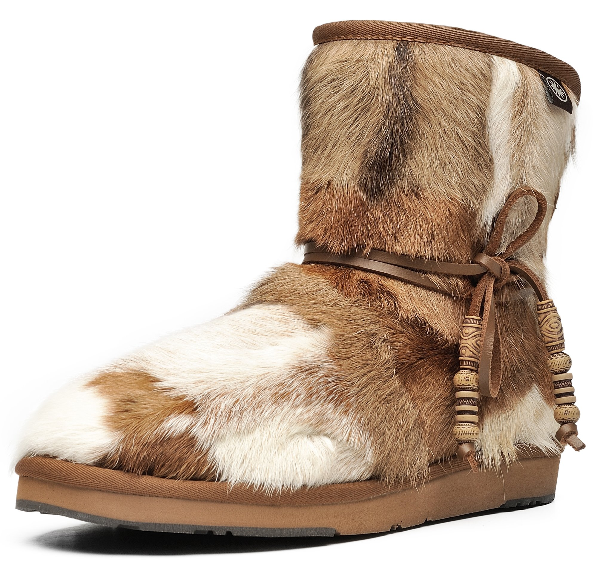 AU&MU AUMU Women's Mini Sheepskin Winter Boots Fur Boots Chestnut Size 8
