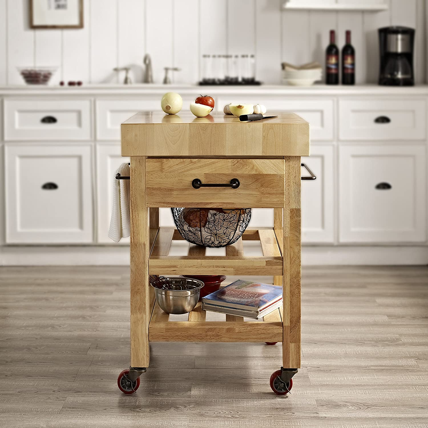 amazon com crosley furniture marston butcher block rolling
