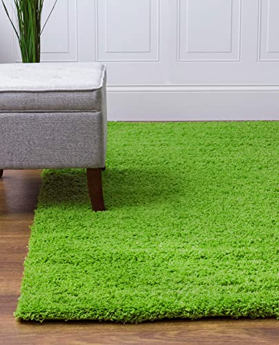Super Area Rugs Solid Shaggy 8×10 Area Rug, 7 10 x 9 10 , Bright Green
