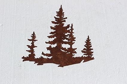 Pine Tree Scene Metal Wall Art Country Rustic Decor