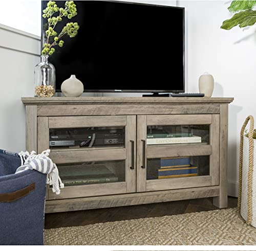Home Accent Furnishings New 44 Inch Corner Television Stand – Grey Wash Color