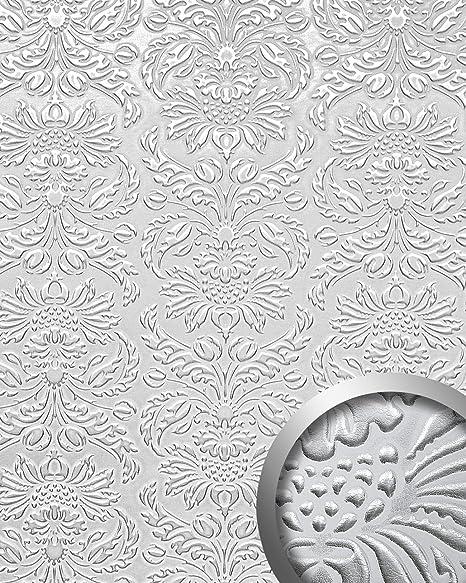 Panel decorativo autoadhesivo polipiel diseño barroco WallFace 14794 IMPERIAL Damasco relieve 3D blanco plata 2,