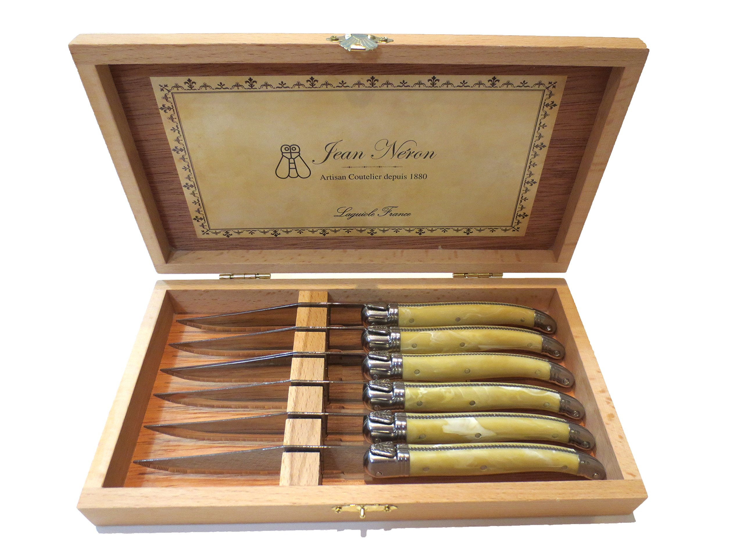 Laguiole Pale Horn Platine Knives in Presentation Box (Set of 6)