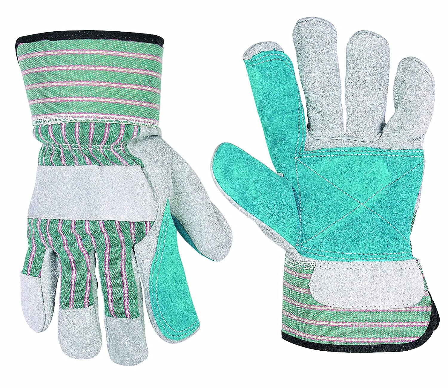 One Size CLC Custom Leathercraft 2047 Work Gloves with Double Leather Palm and Safety Cuff
