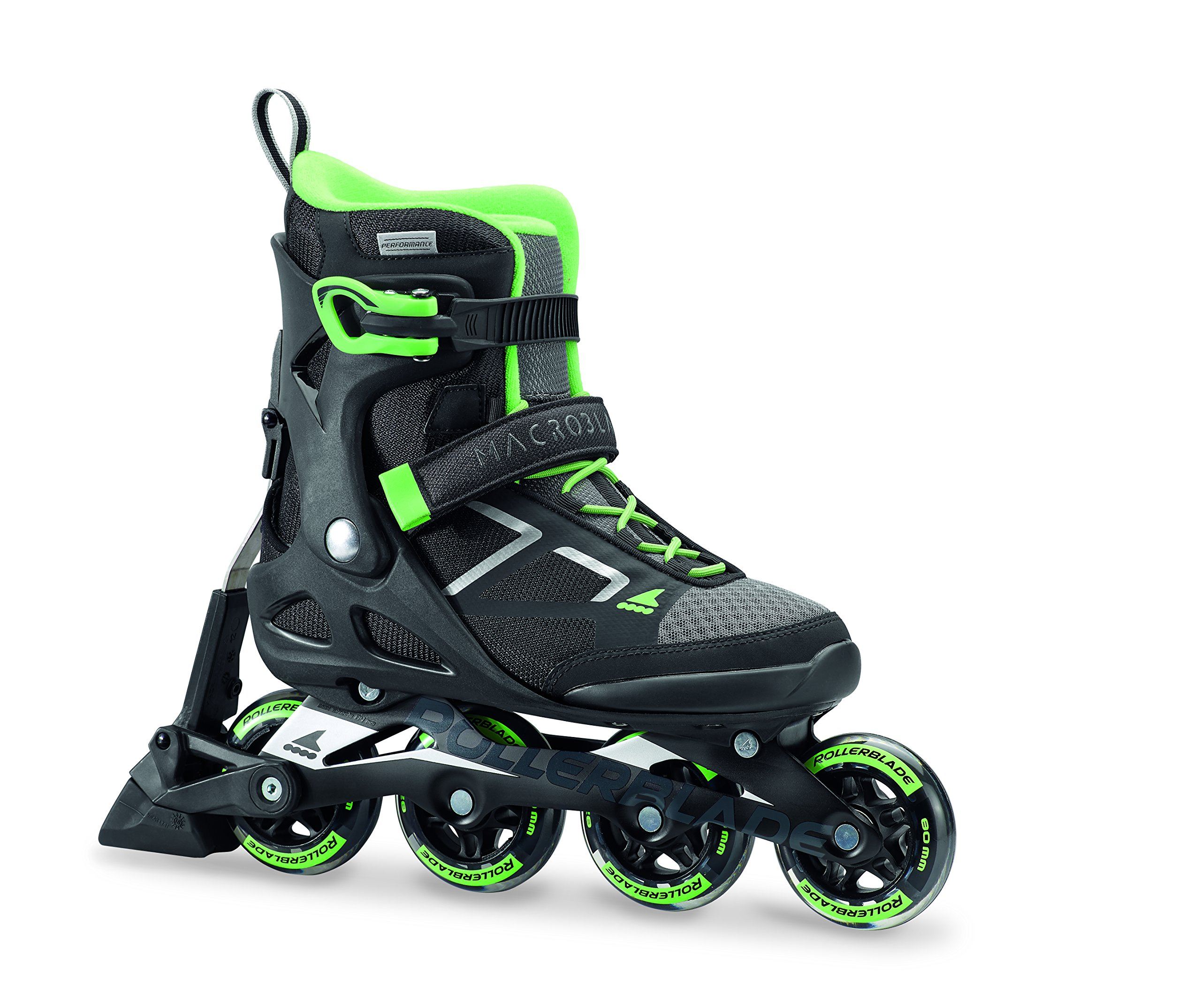 Rollerblade Macroblade 80 ABT W Women's Inline Fitness Skates, Womens, 07847000 824, Black/Light Green, 38.5