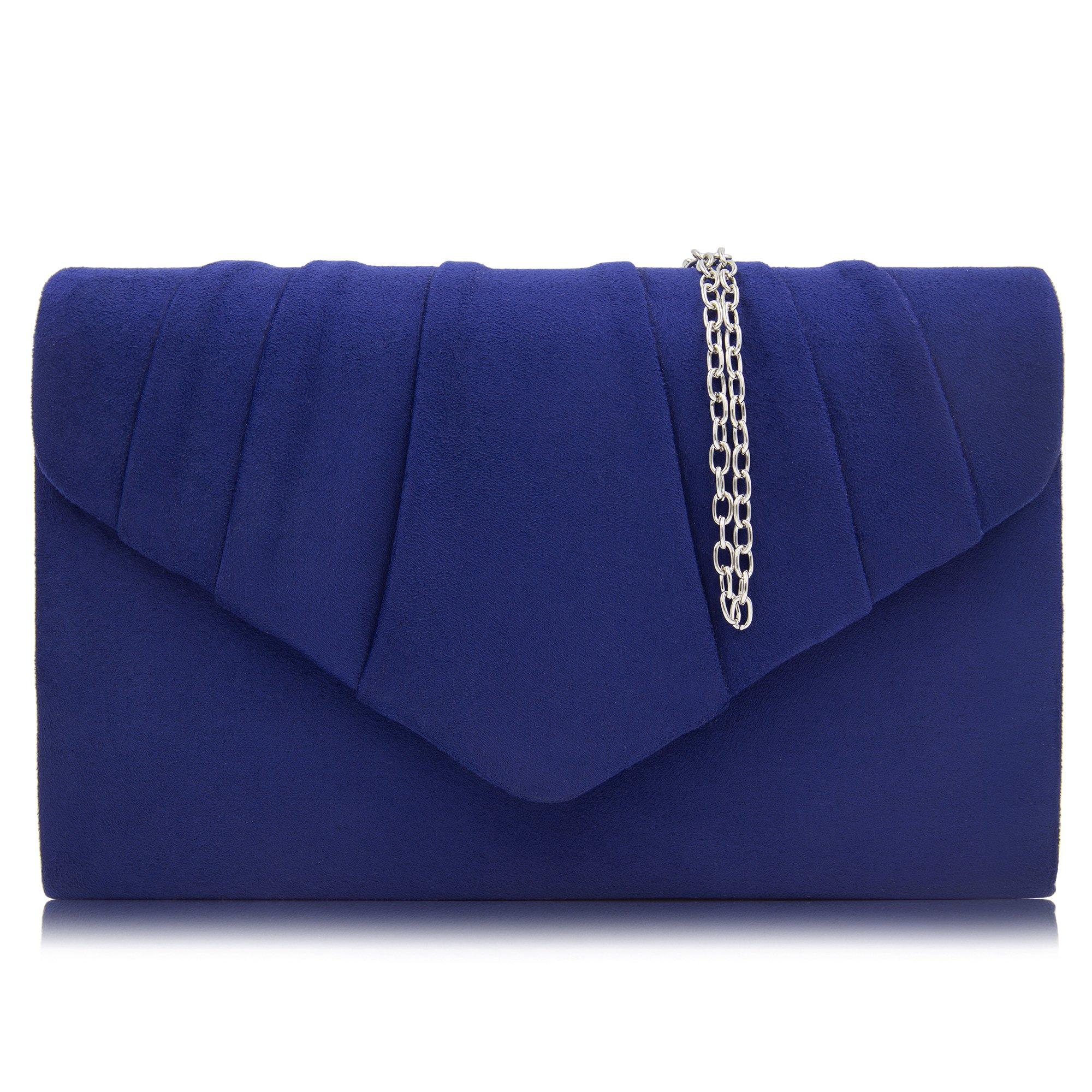 Milisente Women Clutches Velvet Pleated Evening Bag Evenlope Clutch Purse (Blue)